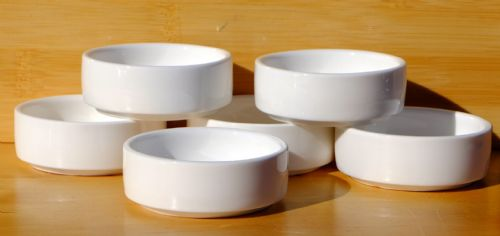 Canape & condiment dishes round white 6cm x6
